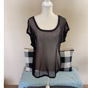 NWT Lane Bryant Active Black Mesh Top Size 14/16